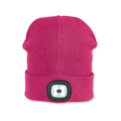 Sterntaler Mütze für Mädchen mit Leuchtfunktion, Gefüttert, Alter: ab 4 Jahren, Größe: 55/57, Pink (Magenta)