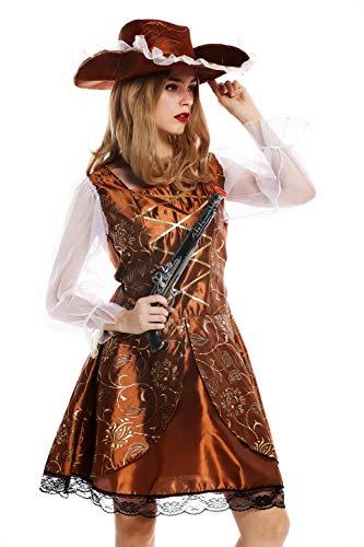 Kostüm Kleid Hut Damen Frauen Karneval Halloween edle Barock Piratin Seeräuberin Gr. S/M ()