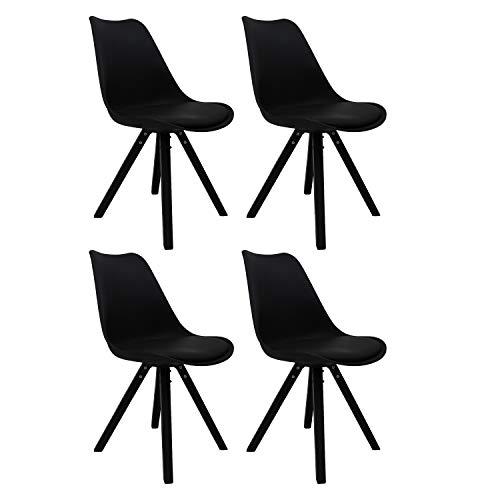 MIFI Esszimmer Stuhl Tulpe Esszimmer Holzbeine Stuhl Retro Design Wooden Leg Küchenstuhl Eiffelturm Stuhl Stühle(Schwarz4)