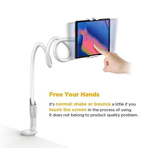 EasyAcc 360 Drehen Handyhalter Desktop Ständer Schwanenhals Halterung Smartphones Halter Tablet Halterung Handy Einer Länge von 1 Meter Für Smartphones iphone 8/8 Plus/iphone x Samsung Galaxy Note8 S8/ S8 Plus Ipads (Weiß / Grau) - 8