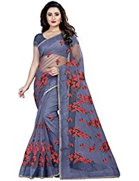 297657c29 Orangesell Women s Mono Net Embroidery work Saree With Blouse  Piece(Grey Free Size)