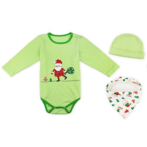 FydRise Baby Mädchen Weihnachten Langarm Strampler Body Set Outfit Kostüm Weihnachtsmann Grün 0-6 Monate