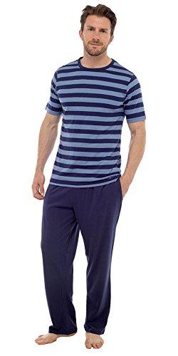 Herren Pyjama Satz Kurzärmeliges Top & Lange Hosen Hose Sommer Marine und blau Streifen