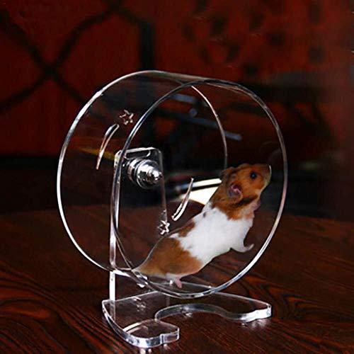 Heimtierbedarf Hamster Laufrad Silent Running Spinner Wheel Acryl Transparent Heimtrainer Jogging Running Toy for Syrische Hamster Rennmaus Ratte Maus Meerschweinchen Eichhörnchen Kleintier -