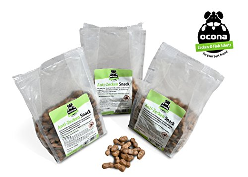 ocona Anti-Zecken Snack für Hunde, natürlicher Floh- und Zeckenschutz mit Schwarzkümmelöl (3X 250 g)