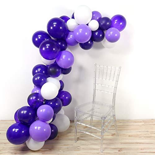 PuTwo Luftballons Lila Weiß, 100 Stück 12 Zoll Luftballons Satz von Luftballons Lavendel Luftballons Lila Luftballons Dunkel Lila Luftballons Weiß, Latexballons für Hochzeitsdeko Lila, Partydeko Lila