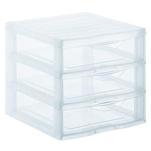 Sundis Orgamix Schubladenbox mit 3 Schüben, , transparent, A4 (36 x 26 x 25,5 cm)