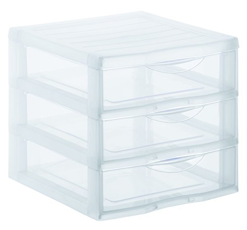 Sundis 1421800096 Schubladenbox Orgamix aus Kunststoff (PP), 3 Schübe im Format A4, ca. 36 x 26 x 25.5 cm (LxBxH), transparent