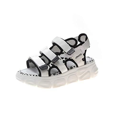T-shao Sommersportschuhe Für Damen Neutrale Offene Zehen Leopard Plattformen Sandalen Lässige Atmungsaktive Strandschuhe (Color : Weiß, Size : 39 EU) -