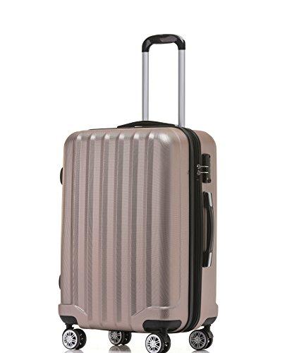 080 Hangepäck Zwillingsrollen neu Reisekoffer Koffer Trolley Hartschale Set-XL-L-M(Boardcase) in 12 Farben (Rosa Gold, L-Mittlerer Koffer(65 cm)) (Gold-farbe-kombination)