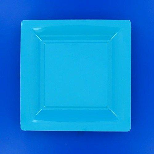Ma Vaisselle Jetable - Assiette Carree Couleur Turquoise Diametre 235