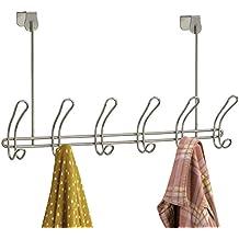 mDesign Perchero de puerta – 12 ganchos - Acero plateado - Práctico colgador de ropa para entrada o baño – Perchero sin taladro, ideal para abrigos y chaquetas o como toallero