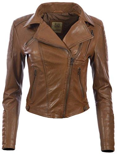 Aviatrix Damen superweiche Lederjacke mit asymmetrischem Reißverschluss (K014) (Jacke Diamant-gesteppte)