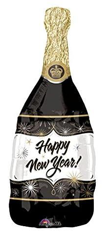 erdbeerloft - Silvesterdeko Champagner Sekt Ballon 91cm ungefüllt, Schwarz