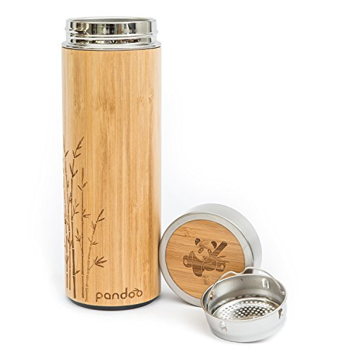 Pandoo - thermos in bambù a doppia parete, tazza da viaggio, teiera, bottiglia da tè, borraccia con infusore in acciaio inox – senza bpa – tea to go, 350 ml