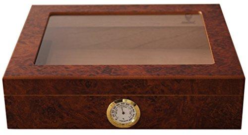 Humidor de marca GERMANUS en acabado marrón   Humidor de madera de cedro español con higrómetro y humidificador de cristal GERMANUS por ca. 30 Cigarros (Calculado con base en el tamaño de los cigarros Corona, otros tamaños pueden dar lugar a resultad...