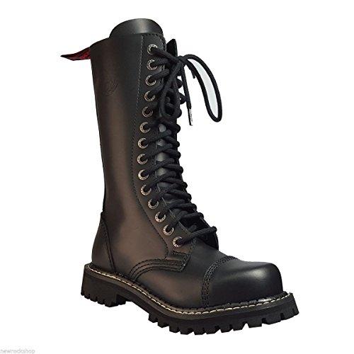 Angry Itch 14 Buchi Stivali Militari Anfibi in Pelle Color Nero punta di ferro punk (41)