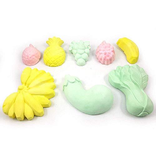 Dewanxin-Zuhause 8PCS Zähne Schleifen Lava Block Calcium Stein für Hamster Chinchilla Kaninchen Ratten Maus Eichhörnchen Kauen Spielzeug (Obst Form: Bananen Orange Grape Apple) -