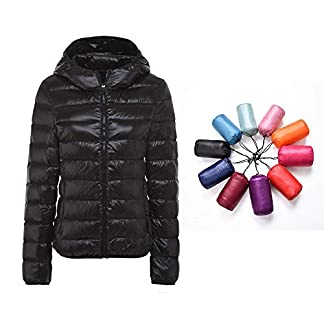 RIOJOY Packable Down Jacket Women Hooded Ultra Lightweight Short Winter Jacket with Carry-on Bag 11