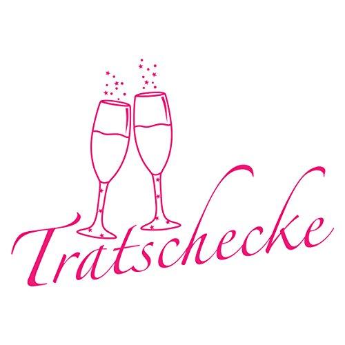 WANDKINGS Wandtattoo - Tratschecke (mit 2 Sektgläsern) - 120 x 85 cm - Pink - Wähle aus 5 Größen & 35 Farben