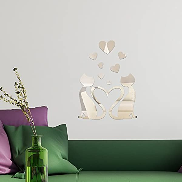 Walplus Heart Shape Mirror Wall Sticker Art DIY Decals Room Home Decorations