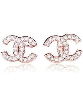 findout rosé vergoldet / Sterling Silber Cubic Zircons Goldfisch Ohrringe. Geschenk für Frauen Mädchen (F617)