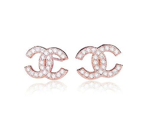 findout rosé vergoldet/Sterling Silber Cubic Zircons Goldfisch Ohrringe. Geschenk für Frauen Mädchen (F617) (Rose Gold überzogen 1)