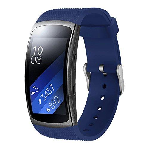 Aresh für Samsung Gear Fit 2 Zubehör uhrenarmband, weiche Silikon Ersatz Armband für Samsung Gear Fit 2 (Blau)