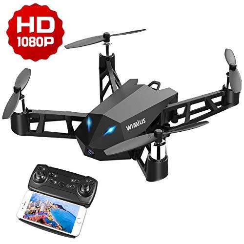 WiMiUS Drone con Telecamera, Mini Drone HD 1080p Nativo con WiFi FPV App Mobile Controllo RC Quadcopter One Key Start-Landing / Altitude-Hold / 360 ° -Lips per Natale per Bambini