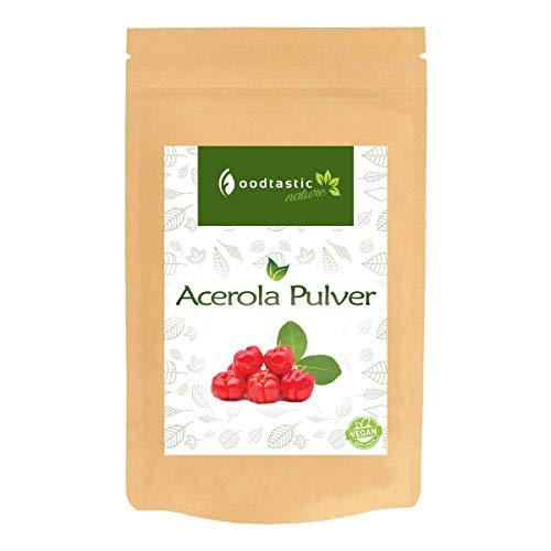Foodtastic Acerola Pulver 200g | natürliches Vitamin C hochdosiert | 6 Monatsvorrat | veganes Superfood