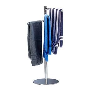 relaxdays handtuchhalter freistehend handtuchst nder mit 3 schwenkbaren armen edelstahl hxbxt. Black Bedroom Furniture Sets. Home Design Ideas