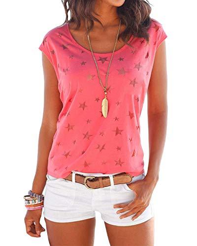 YOINS Shirt Damen T-Shirt Oberteile Sexy Oberteil für Damen Tops Sommer Ärmellos Rundhals mit Sterne Rosa EU40-42