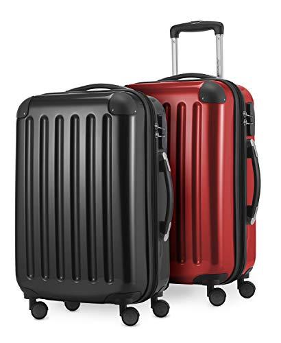 HAUPTSTADTKOFFER - Alex Kofferset - 2 x Handgepäck Hartschale Kabinenkoffer mit Erweiterung 55 cm, 42 Liter, Schwarz-Rot
