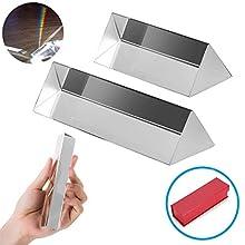 """REYOK 2PCS Prisme Triangulaire Kits en Verre Optique Triple Prisme Photographie Prisme pour Enseignement de Physique, Photographie, étudier la Lumière et Bon Outil 2"""" 3"""""""