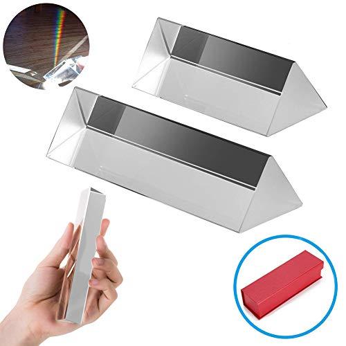 2PCS Fotografía Triangular Prisma Óptico Cristal Triple Prisma Rainbow Maker para Física Kits de Óptica de Luz Espectral (2'/5cm, 3''/7.5cm)