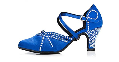 Minitoo Med talon de danse Satin pour pompes Bleu - bleu