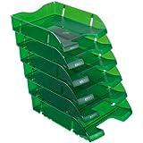 Herlitz 11247251 Lot de 6 corbeilles à courrier A4-C4 en plastique PET (Vert bouteille transparent)