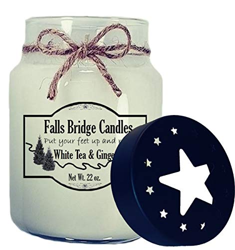 Falls Bridge Candles White Tea & Ginger Scented Jar Candle, 22-Ounce, w/Star Lid Floral Ginger Jar