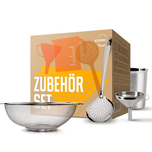 Braubox 4-teiliges Zubehörset Messbecher, Sieb, Trichter, Maischelöffel   Qualität von Besserbrauer