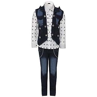 AJ Dezines Kids Shirt Jeans and Jacket Clothing Set for Boys (667_BLUE_18)