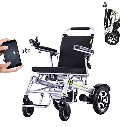 AMINSHAP Remotely Elektro-Rollstuhl Steuern, H3s Leichte Vollautomatische Intelligente Smart-Folding Elektro-Rollstuhl Super-Endurance Safer Elderly Rollstuhl Stoßdämpfer Vierrädrigen Motorroller