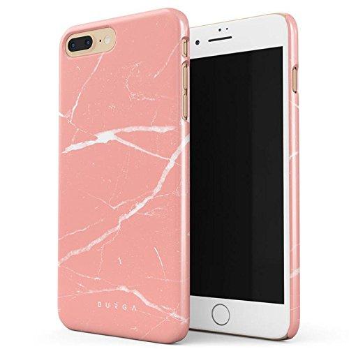 BURGA Pfirsich Marmor Pink Rosa Licht Farbig Bunt Marble Dünn, Robuste Rückschale aus Kunststoff Für iPhone 7 Plus / iPhone 8 Plus Hülle Handyhülle Schutz Case Cover (Coral Farbige Taste)