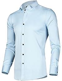 Uomo camicia Abbigliamento it Amazon azzurra nvHzxtwa