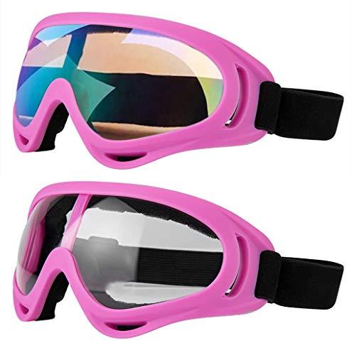 Motorradbrille - Brille 2er-Set - Dirt Bike ATV Motocross Anti-UV verstellbare Offroad-Schutzkampfbrille für Männer, Frauen, Kinder, Jugendliche, Erwachsene,Pink/Clear+Colorful Lenses
