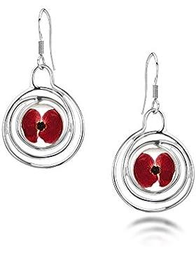 Shrieking Violet: Ohrhänger - rote Mohnblüten - Spirale - 925 Sterling Silber