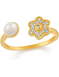 Mahi Gold Plated Floral Love Adjustable Finger Ring With CZ Stones And Artificial Pearl For Girls And Women FR1103016G