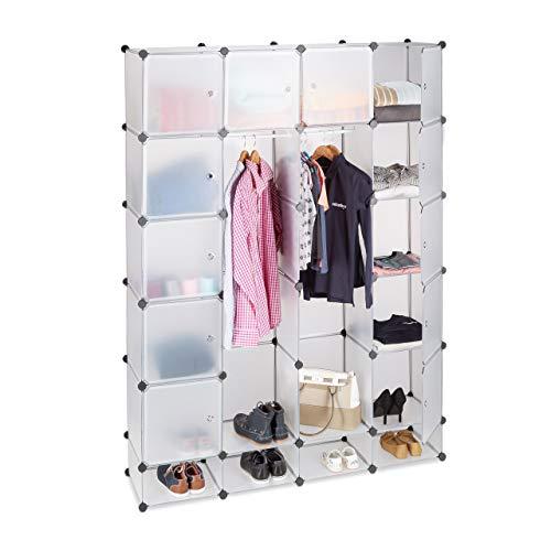 Relaxdays Kleiderschrank Stecksystem aus Kunststoff, 18 Fächer mit Tür, großer Garderobenschrank...