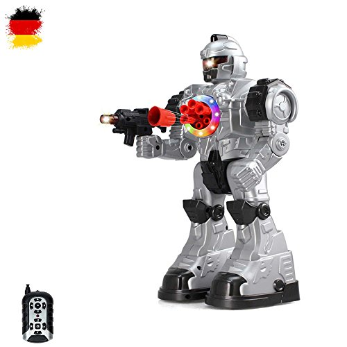 RC ferngesteuerter Kampf Roboter mit LED-Beleuchtung, Modell, Infrarot Fernbedienung, mit vielen Besonderheiten wie Tanz- und Schussfunktion, Neu OVP (Roboter Box)