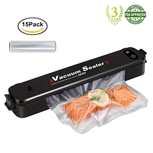 Vakuumierer FLY5D Mini Automatisch Essen Folienschweißgeräte, 8x Länger Frisch Aufbewahrung Kompakt Leicht Super Slim Vakuumiergerät, 15 Gratis Profi-Folienbeutel