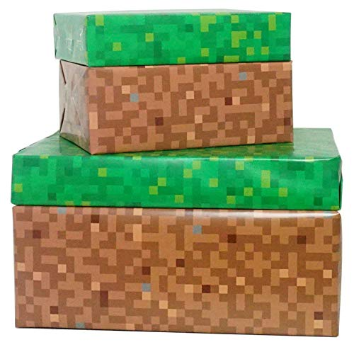 Pixel Geschenkpapier, doppelseitig, Grün/Braun, 4 Blatt